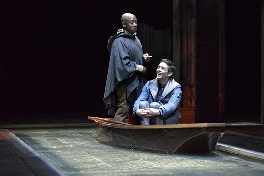 Lucian Msamati as Iago, James Corrigan as Roderigo